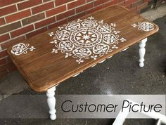 Refurbished Furniture, Paint Furniture, Furniture Makeover, Furniture Decor, Handmade Furniture, Ornament Tapete, Large Wall Paintings, Stencil Painting On Walls, Mandala Painting