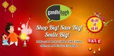Grand Diwali. Grand Sale..!!!  Shop for all your festive essentials from Gandhibagh.com at exciting prices.  #KamMeBam Sale #KhushiyonKiThaili #Achhi_Adat_Behtar_Zindagi #Wholesale_Ke_Bhav_Ghar_Pe_Pao #FreeHomeDelivery #NoMinimumCart Iss Diwali Bas Order Kijiye!