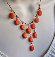 CIJ Sale Cascading Orange Bib Statement Necklace. Beaded Necklace. Statement…