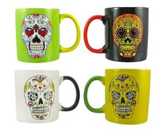 This set of 4 coffee mugs are each different and unique. Perfect for Halloween or Day of the Dead festivities. Mexican Hot Chocolate Mexican hot chocolate is a rustic drink made with water (or milk) a