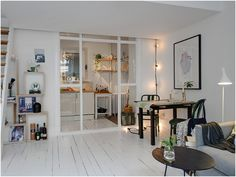 Small and Cozy Apartment with Mezzanine in Sweden Cheap Room Dividers, Office Room Dividers, Small Apartments, Small Spaces, Patio Interior, Interior Design, Halls, Mini Loft, Cozy Apartment