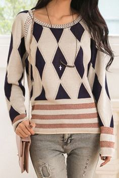 Stylish Scoop Neck Diamond Check Long Sleeve Women's Sweater