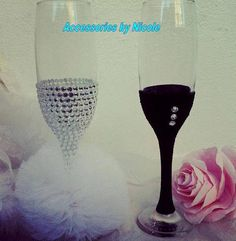 Rhinestones wedding glasses by AccessoriesbyNicolle on Etsy