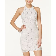 Jump Juniors' Open-Back Sequin Lace Bodycon Dress ($89) ❤ liked on Polyvore featuring dresses, ivory, ivory cocktail dress, bodycon dress, white lace dress, body con dresses and white cocktail dress