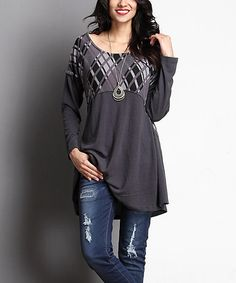 This Charcoal Diamond Plaid Empire Waist Tunic is perfect! #zulilyfinds