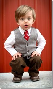 For a hipper boys' look, layer a gray vest over a patterned button ...