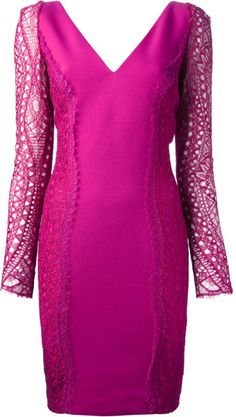 Purple Lace Dress with Sleeves | Emilio Pucci Lace Sleeve Dress in Pink (pink & purple) - Lyst