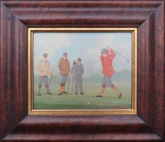 Golf players golfers 4 antique original sport oil painting by William Rowland UK
