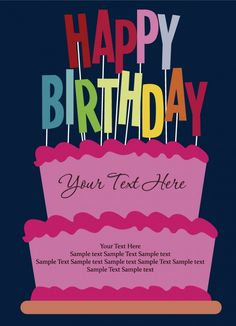 Happy birthday postcard vector (3)