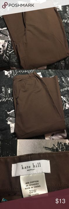 Kate Hill brown pant 22W Kate hill gently used brown pant Kate Hill Pants Wide Leg