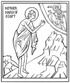 St Mary of Egypt coloring page Sunday School Activities, Church Activities, Sunday School Crafts, Book Activities, Religious Pictures, Religious Icons, St Mary Of Egypt, Inktense Blocks, Egypt Crafts