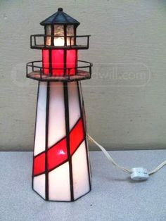 shopgoodwill.com: Leaded Stained Glass Lighthouse Table Accent Lamp