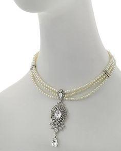 Amazing Ornate Handmade European Crystal & Pearl Bib Necklace