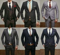 groom && groomsmen attire: grey orrr navy suits with colored shirts, skip the vest && keep the jacket orrr keep the vest && skip the jacket - just DITCH THE BLACK TUX for heavens sake! Fashion Mode, Look Fashion, Girl Fashion, Mens Fashion, Formal Fashion, Classy Fashion, Fashion Styles, Street Fashion, Fashion Tips