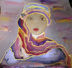 Lady.Silk scarf Hand paited 140x45cm by HelenaArtSilk on Etsy, $50.00 - All her scarves are amazing and beautiful!