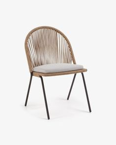 Chaise Shann beige - Kave Home Indoor Places, Small Balcony Design, Steel Paint, Wood Source, 139, Outdoor Dining Chairs, Cushion Filling, Garden Chairs, Garden Furniture