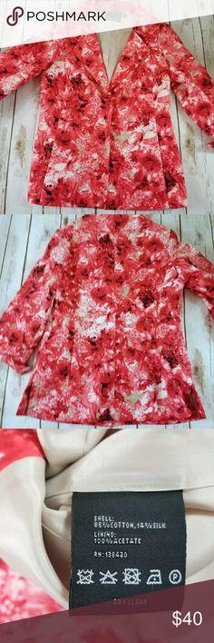 "10 Carlisle Pink and Green Floral Blazer Bust: 38"" Length: 26"" carlisle Jackets & Coats Blazers"