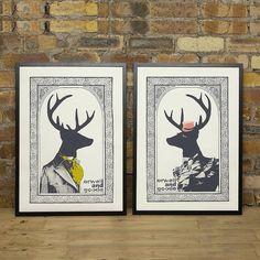 Set Of Two Mr And Mrs Dandy Deer Prints