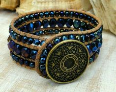 Possibly the most exquisitely made hand crafted black jewels for mothers. Beaded Bracelet Patterns, Beaded Wrap Bracelets, Bracelet Designs, Beaded Jewelry, Jewelry Bracelets, Diy Leather Bracelet, Leather Jewelry, Skull Jewelry, Vintage Jewellery