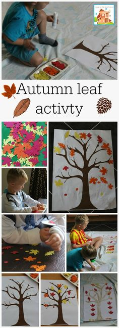 Autumn / fall leaf activities including sticking perfect for toddlers and preschoolers