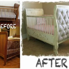 Distressed Paint Job And Upholstered Sides Transformed An Old Ordinary Crib  Into A Stylish Retro Feel Great Piece For A Vintage Nursery.
