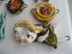 ceramic pendant, handmade, fired 5 times - by Sunny Carvalho
