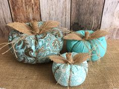A personal favorite from my Etsy shop https://www.etsy.com/listing/553133449/3x-aqua-stuffed-fabric-pumpkins-fall