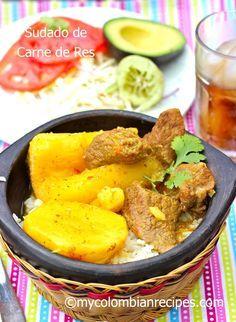 Colombian Beef Stew (Sudado de Res) Et Yemekleri Colombian Dishes, My Colombian Recipes, Colombian Cuisine, Cuban Recipes, Yummy Recipes, Columbian Recipes, Comida Latina, Latin Food, Gastronomia