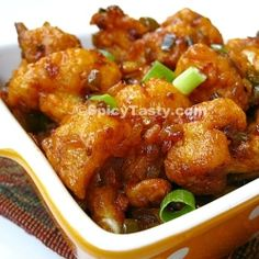 Interesting, will have to try!!! Cauliflower Manchurian - An Indo-Chinese vegetarian appetizer perfect for veggie lovers. Stick a tooth pick and serve hot.