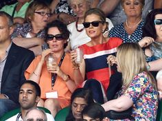 They even tuck into drinks - LONDON, ENGLAND - JULY 01: Olivia Colman and Emilia Fox attend the Angelique Kerber v Maria Sharapova match on centre court during day eight of the Wimbledon Championships at Wimbledon on July 1, 2014 in London, England. (Photo by Karwai Tang/WireImage)