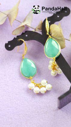 Winding Gemstone Earrings with Pearl Pendants Wire Jewelry Designs, Handmade Wire Jewelry, Beaded Jewelry Patterns, Custom Jewelry, Jewelry Crafts, Earrings Handmade, Diy Schmuck, Schmuck Design, Gemstone Earrings