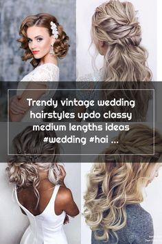 Trendy vintage wedding hairstyles updo classy medium lengths ideas #wedding #hairstyles #vintagewedding Wedding Hair Side, Vintage Wedding Hair, Medium Lengths, Updos, Wedding Hairstyles, Dreadlocks, Classy, Hair Styles, Beauty