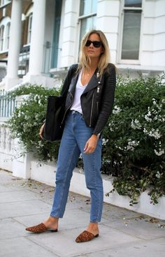 For colder spring days, pair jeans with a leather jacket and leopard-printed slip-on shoes. Let Daily Dress Me help you find the perfect outfit for whatever the weather! dailydressme.com/