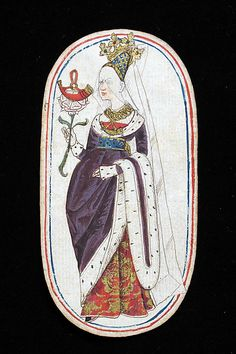 Playing Card with a Queen (from a set of fifty-two playing cards)    Date:      ca. 1470–80  Culture:      South Netherlandish  Medium:      Pasteboard with pen and ink, tempera, applied gold and silver  Dimensions:      Each 4 3/4 x 2 3/4 in. (12 x 7 cm)  Classification:      Miscellany-Paper  Credit Line:      The Cloisters Collection, 1983  Accession Number:      1983.515.2    This artwork is not on display