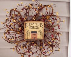 """Bless This House PRIMITIVE COUNTRY WREATH 12"""" PIP BERRIES burgundy~red  mustard  #Handmade"""
