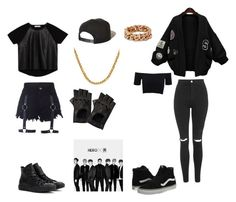 """Monsta X Hero Rooftop Inspired Outfits"" by cyberd0ll ❤ liked on Polyvore featuring WithChic, Zara, Topshop, American Apparel, Brixton, Converse, Vans, STELLA McCARTNEY and Portolano"
