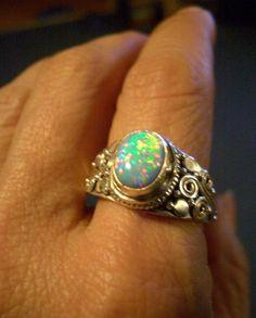 Sz 8, Genuine FIRE OPAL Doublet Gemstones, 925 Solid Sterling Silver, Amazing…