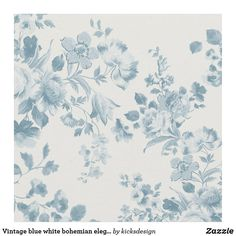 Vintage blue white bohemian elegant floral fabric Bohemian Fabric, Floral Fabric, White Bohemian, Custom Fabric, Crafts To Make, Vintage Shops, Printing On Fabric, Sewing Projects