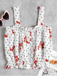 Tap into the clashing print trend with our vibrant cheery and dots print top. Collar Pattern, Top Pattern, Polka Dot Print, Polka Dots, Retro Dress, Cute Shirts, Fashion Outfits, Cherry, Women
