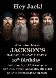 Duck Dynasty Birthday Party Invitation  by HoneyBeeParties on Etsy, $7.99