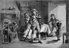REVOLUTIONARY WAR - A MINUTE MAN PREPARING FOR WAR - Engraving of 19th century