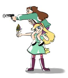 Star vs the forces of evil and Mabel from Gravity Falls Gravity Falls Crossover, Gravity Falls Au, Fandom Crossover, Dipper Y Mabel, Mabel Pines, Grabity Falls, Disney Xd, Disney Stuff, Reverse Falls