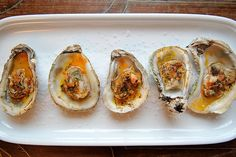 Broiled Oyster with Sriracha lime butter.  I LOVE oysters, the only question:  Wellfleet or Glidden Point?