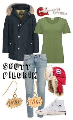 """Scott Pilgrim"" by captainrogers ❤ liked on Polyvore featuring Woolrich, BillyTheTree, American Vintage, Frame Denim, Canada Goose, Converse, Edge Only, women's clothing, women and female"