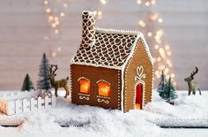 This pretty Swedish gingerbread house is so charming you'll want it to last all season long. Give this fun gingerbread recipe a go at Tesco Real Food. Gingerbread House Template, Gingerbread House Designs, Christmas Gingerbread House, Swedish Christmas, Christmas Treats, Christmas Baking, Christmas Cookies, Christmas Time, Christmas Decorations