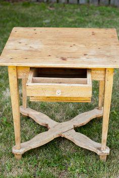 Pale Yellow Farm Table w/ Deep Drawer