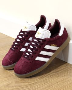 the latest 58d36 b27d6 Adidas Gazelle Trainers Maroon White Gum,suede originals,80s,90s Zapatillas