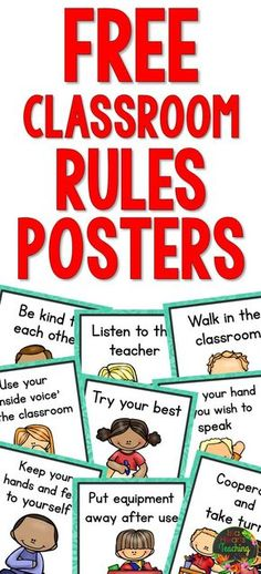 10 FREE Classroom Rules Posters for your classroom (bulletin boards behavior management classroom décor back to school) Preschool Classroom Rules, Classroom Rules Poster, Classroom Bulletin Boards, In Kindergarten, Classroom Décor, Class Rules Poster, Classroom Setting, Classroom Behavior Management, Class Management