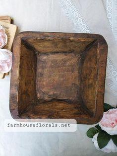 Square Farmhouse style Dough Bowl Autumn Wreaths For Front Door, Door Wreaths, Rustic Bowls, Dough Bowl, Look Older, Farmhouse Style Decorating, Perfectly Imperfect, Vintage Farmhouse, Fall Decor