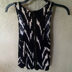 Aztec Black and Blues Tank Beautiful patten of dark shades of blue and white. Soft. Worn but in great condition. Zipper on the back. Fits S or M. silence + noise Tops Tank Tops